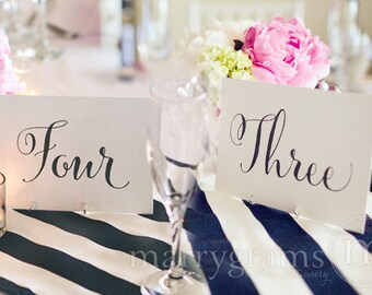 Table Number Signs -Perfect for Wedding Reception -Table Cards Whimsical Fancy Script, Elegant Simple Table Numbers (Set of 10) SS07