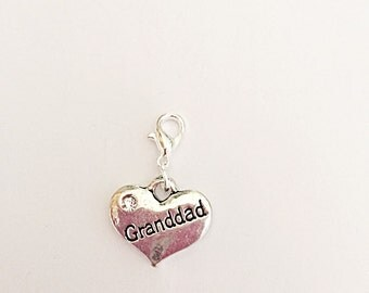 Grandad Heart Charm - Clip On Charm - Attach To Bracelet Or Necklace