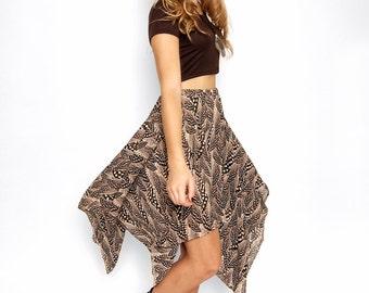 Feather Print Handkerchief Skirt