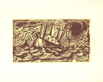Screenprint Ship in a Storm Fernando Cilleruelo Serigraphy for Club del Grabado de Montevideo Original Art