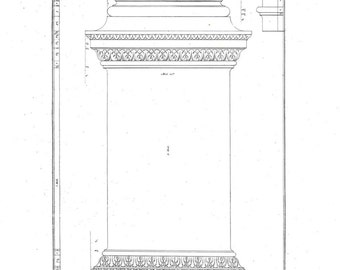 1842 Architectural Print,  Pedestal, Plate 22, Palladio Four Books of Architecture, Drawing by Scamozzi
