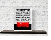 Firefighter gift, fireman gift, wall art print quote