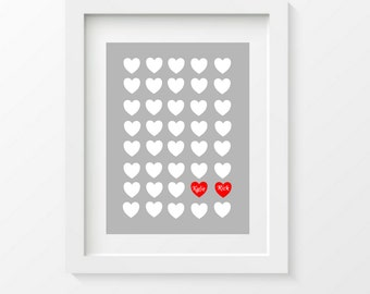 Personalized Couples Art Print, Heart Art, Wedding Shower Gift, Couple Names,Bridal Shower Gift
