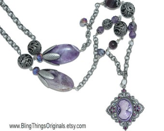 """SALE Necklace Unique Gifts for Her Birthday Gifts  Purple Cameo 32""""  Necklace For Her Unique Gifts for Her Birthday Gifts"""