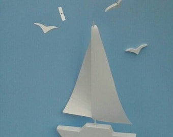 SAILBOAT w Seagulls Mobile,Y19,White Sailboat Mobile,Seagulls,Ocean Art Mobile,Sailboat Decoration,Nautical,Marine,Wooden Sailboat Mobil