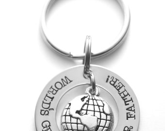 Father's Day gift - World's greatest father - stainless steel key ring - hand stamped stainless steel