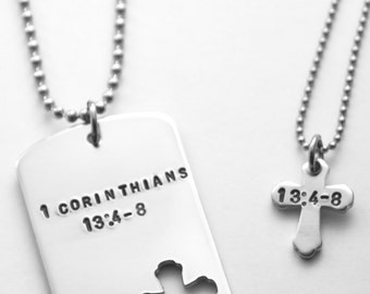 His and Hers necklace set - Bride and Groom gift - Gift for couple - 14 g aluminum - steel chain - hand stamping - any text that fits