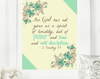 """Instant """"2 Timothy 1:7"""" Mint, Yellow & Brown Wall Art Print 11x14 Typography Printable Home Decor"""
