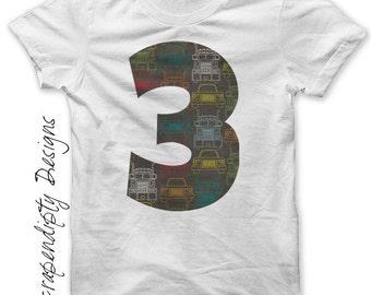 Third Birthday Shirt PDF - Three Iron on Transfer / Boys Cars Birthday Party / Age Three Transportation Tee / 3rd Birthday Outfit 3T IT505