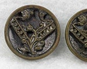 Set of 2 Antique Metal Picture Buttons ~ 9/16 inch 14mm ~ Trellis Flowers Vine Climbing ~ Twinkle Mirror Back ~ Self Shank