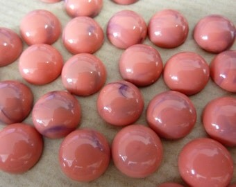 20 acrylic cabochons, Ø12mm, marbled coral, round
