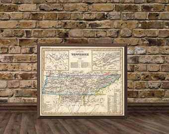 Tennessee map - Vintage map of Tennessee fine print