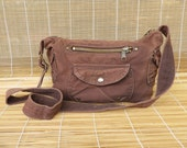 Vintage Small Size Brown Canvas Hand Bag Shoulder Purse