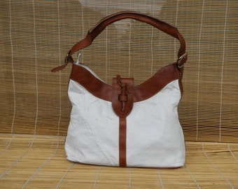 Vintage Brown And White  Faux Leather Zip Up Top Hobo Shoulder Bag