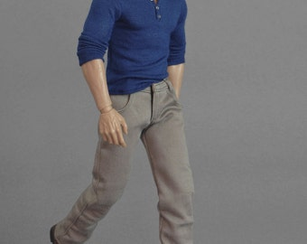 1/6th scale khaki / beige jeans pants / trousers for collectible action figures