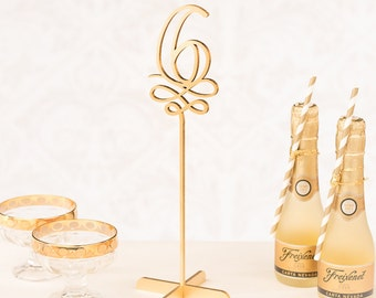 Gold Wedding Table Numbers - Freestanding with base - Soirée Collection