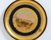 Antique Toleware Tray, South American scene, Hand painted, Gold leaf, Gild, Tin Plate