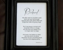 Framed inspirational poem 5x7 (black or white) and opt. personalization