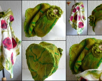 nuno felted scarf, slouchy hat, wrap, handmade, silk, felted wool , art to wear, MADE TO ORDER