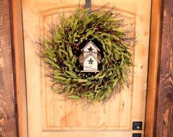 Summer Wreath-Bird House Door Wreath-Rustic Home Decor-Twig Wreath-RED Twig Wreath-Fall Wreath-Housewarming Gift-SCENTED Wreaths