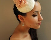 Ivory Fascinator Women's Cocktail Hat with Handmade Pink Flower and Metallic Gold Leaves