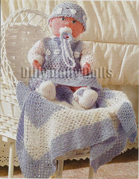 Crochet Pattern Doll Blanket : Life size baby doll crochet pattern including dress booties