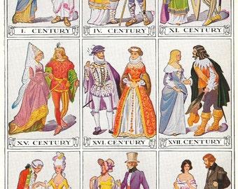 19th Century European Costumes Print Biblical Renaissance Victorian Dress Attire