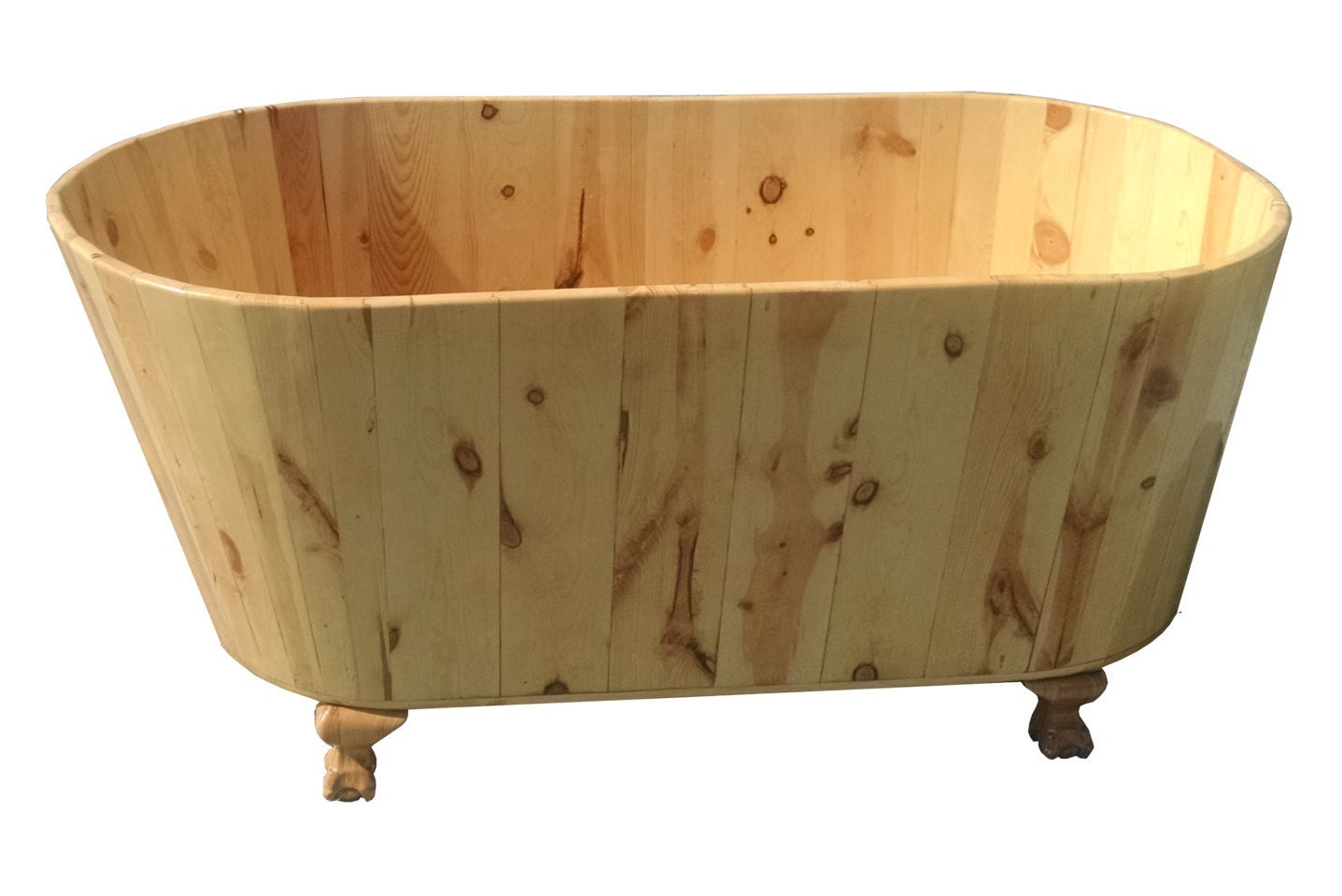 Wooden clawfoot bathtub in pine ofuro for Tiny bathtub