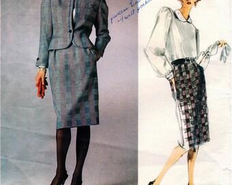 Vintage UNCUT BILL BLASS Vogue American Designer Pattern 1789 - Misses Loose-Fitting Jacket, Straight Skirt & Back-Button Blouse - Size 14