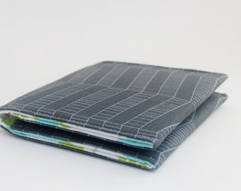 Oversized Business Card Case, Square Card Holder, Fabric Wallet, Grey Chevron