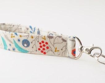 Keychain, Key Fob, Wristlet Lanyard, Woodland Forest, Organic Fabric