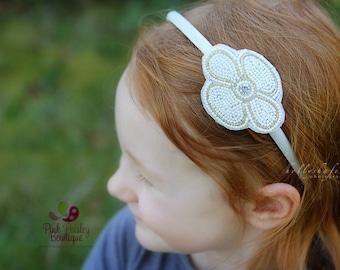 Flower Girl Hair Bow - Toddler Headband - Toddler Accessories - Ivory Baby Headband - Baby Girl Headbands- Baby Hairbows - Ivory Wedding Bow