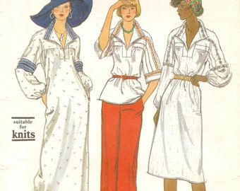 Boho Hippie Uncut Vintage 1970s Vogue 9216 Caftan Style Dress or Top and Pants Sewing Pattern B34