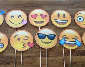 Photo Props: The Emoji Set (10 Pieces) - party wedding birthday decoration instagram social media iPhone app icon stick centerpiece
