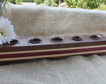 Beautiful Hardwood Votive Candle Holder Includes 5 Votive Cups