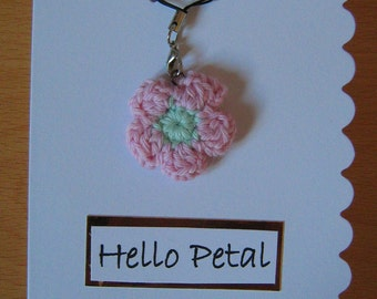 Handmade greetings card with detachable pink flower charm