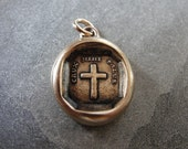 Cross Wax Seal Charm - antique Christian faith wax seal jewelry pendant with Latin motto The Cross Is My Salvation by RQP Studio