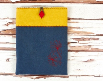 Floral Embroidered iPad Mini Sleeve in Lined and Padded Linen Fabric Gadget Accessory Gift for Woman