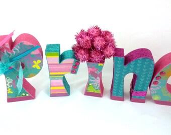 CLEARANCE - was 38 - PRINCESS Wood Letter Blocks. Pink, Turquoise, Teal, Purple, Glitter, Sparkle, Scrapbook Paper Super Sale Liquidation