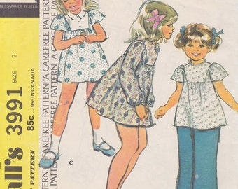 1974 Boho Toddler Girls Dress or Tunic Vintage Pattern, McCalls 3991, Extra Carefree, Round Neck, Butterfly Cape or Long Sleeves, Gathers