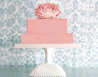 "Wedding Centerpiece 22"" Cake Stand / Square Cake Pedestal Stand / Art Deco Weddings or ArtDeco Wedding Decoration / Extra Large Cake Stand"