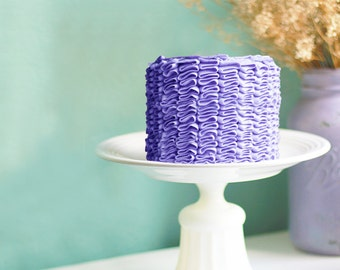 """Cottage Chic Cake Stand shown with Blue Violet Ruffle Cake / 12"""" Cake Dish / Cake Plate / Cake Platter / Cake Pedestal / Cake Tray"""