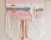 Woven Tapestry / Pink Princess / Hand Woven Wall Hanging