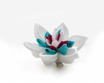 Wedding Hair Flower: White, Pink and Aqua Silk Kanzashi Hair Clip - Bridesmaids Hair Flower - Bridesmaid Gift - Wedding Keepsake