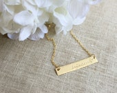 Mothers Day Sale . Name Necklace . Personalized Necklace .Bar Necklace . Gold Bar . Stamped Jewelry . Personalized Jewelry . Name Jewelry