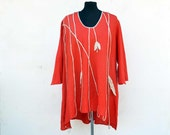 Large Red LINEN tunic XL size, woman unique fashion design, 3/4 sleeves natural eco flax hemp clothing art to wear longer back wearable 301