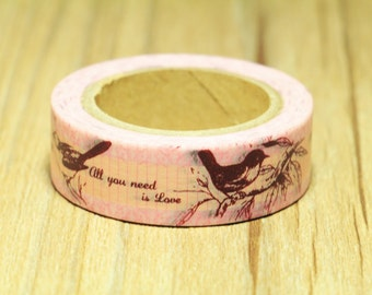 washi tape - masking tape - paper tape - 10 meters - bird