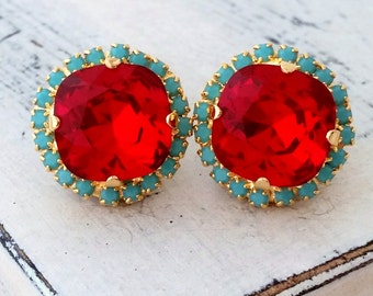Red and turquoise Swarovski crystal stud earrings,14K gold earrings, Deep Red turquiose Rhinestone stud earrings, Bridesmaid gifts, vintage