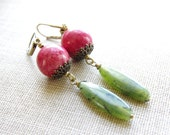 Jade Jewelry Dangle Earrings Natural Green Jade Red Stone Brass Earrings Red Green Jewelry Beaded Earrings Bronze Handmade Jewelry