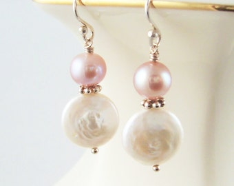 Coin Pearl Earrings Pearl Jewelry Sterling Silver Pink Blush Bridesmaid Earrings Pearl Wedding Jewelry June Birthday Bridal Jewelry